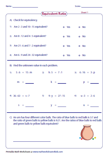 Printables Equivalent Ratios Worksheet ratio worksheets part to with pictures