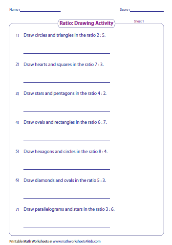 Printables Worksheets On Ratios ratio worksheets part to with pictures