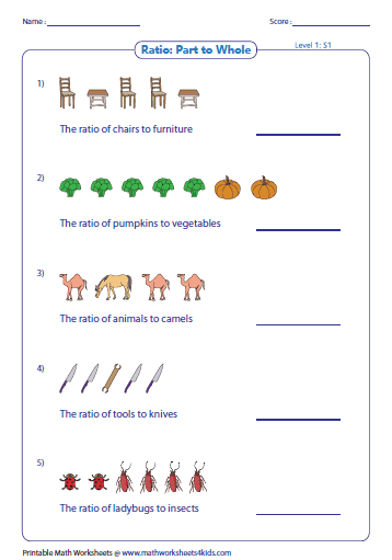 Printables Ratios Worksheets ratio worksheets part to with pictures