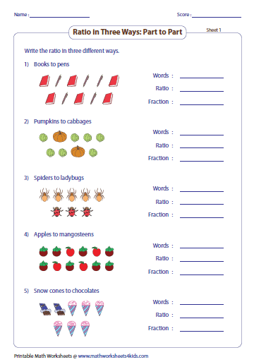 Printables Ratio Math Worksheets ratio worksheets part to with pictures