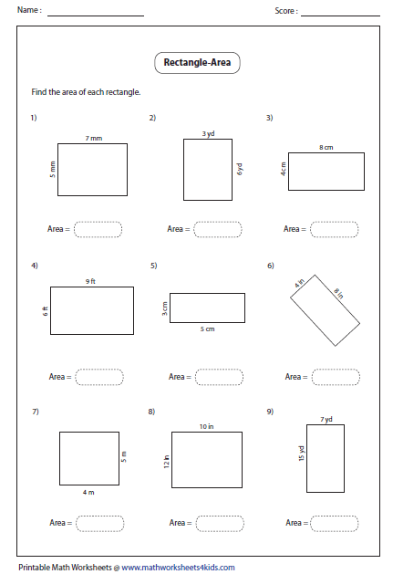 Worksheets Area Worksheets 6th Grade rectangle worksheets area of rectangle