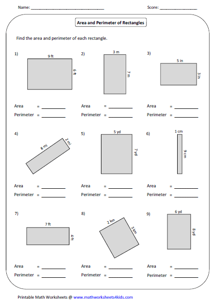 Printables Perimeter Worksheets 4th Grade rectangle worksheets area and perimeter of mixed