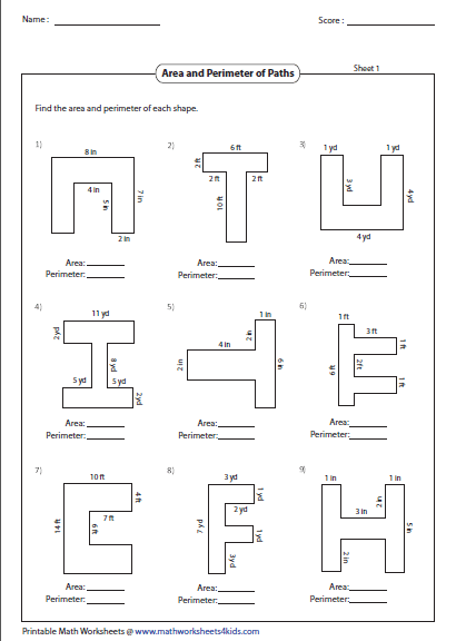 Finding area and perimeter of shapes worksheets