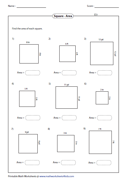 Area of rectangle worksheet 4th grade