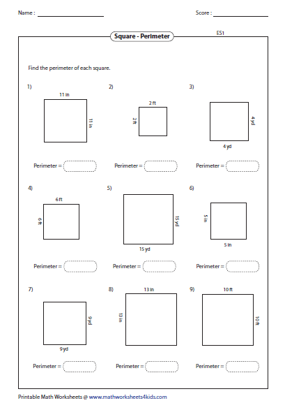 Kindergarten Perimeter And Area Worksheets 3rd Grade Checks ...