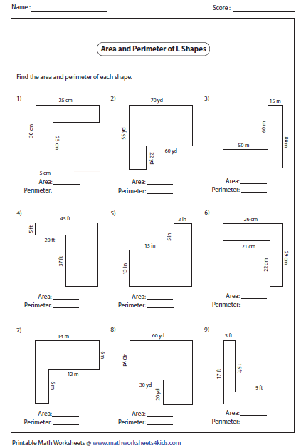 Printables Area And Perimeter Worksheet rectangle worksheets l shapes