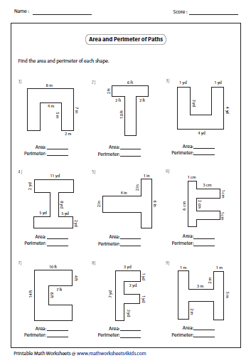 Printables Perimeter And Area Worksheets rectangle worksheets rectangular path