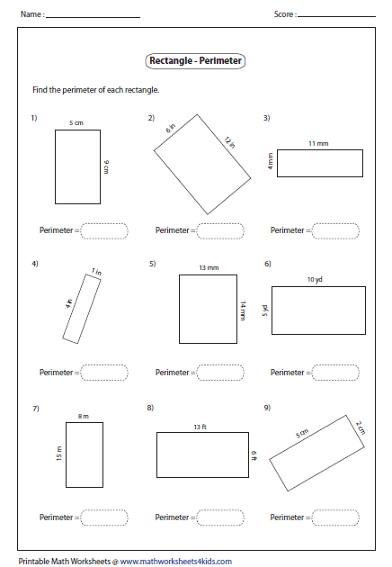 Worksheets Area And Perimeter Worksheet rectangle worksheets perimeter of rectangle