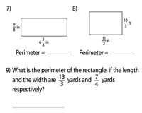 Perimeter of rectangles | Fractions