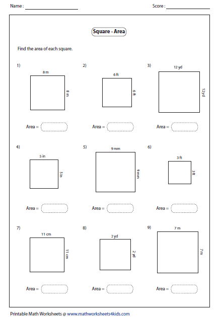 Worksheet Squares Worksheet rectangle worksheets area of square