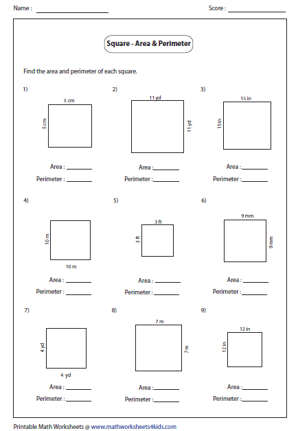 perimeter area and volume worksheets pdf