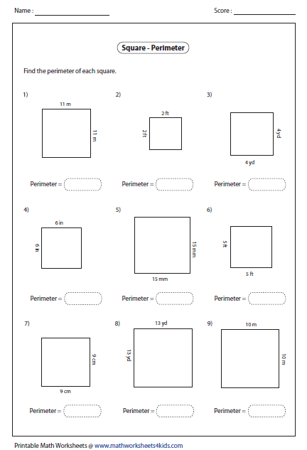 Printables Perimeter Worksheets rectangle worksheets