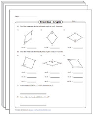 Angles in a Rhombus Worksheets