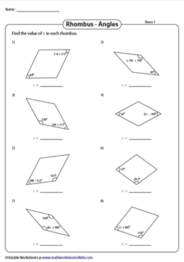 Angle Properties Of A Rhombus Worksheets