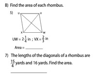 Area of a Rhombus | Fractions