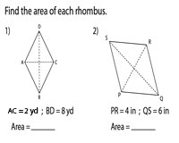 Area of a Rhombus | Integers - Type 1