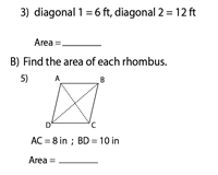 Area of a Rhombus | Integers - Type 2