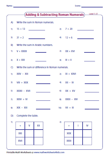 Roman numerals worksheets adding and subtracting roman numerals level 1 ibookread