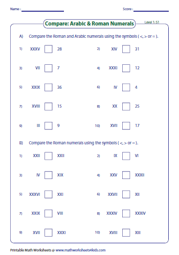Roman numerals worksheets comparing roman numerals level 1 ibookread