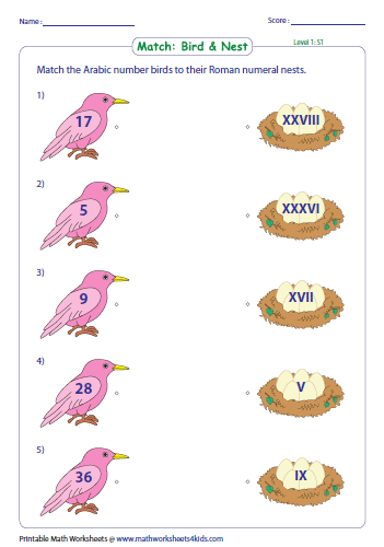 Roman numerals worksheets match arabic and roman numerals level 1 ibookread