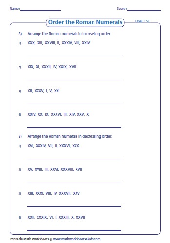 Roman numerals worksheets order the roman numerals level 1 ibookread ePUb