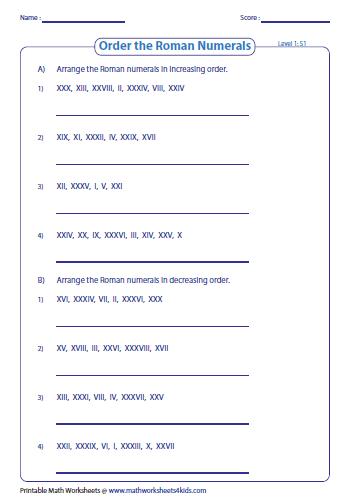 Worksheets Roman Numbers 1-10000 Pdf roman numerals worksheets