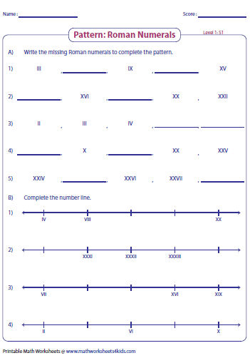 Pattern Large on missing number line worksheets