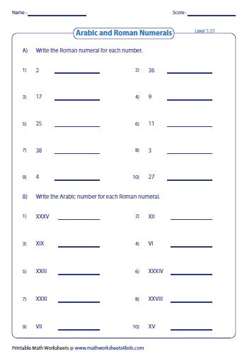 roman numerals worksheets. Black Bedroom Furniture Sets. Home Design Ideas