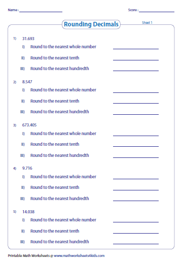 Printables Rounding Decimals Worksheet rounding decimals worksheets
