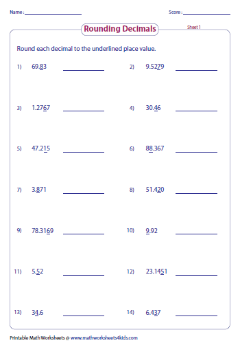 Printables Rounding Decimals Worksheet rounding decimals worksheets underlined place value