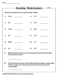 Rounding decimals worksheets rounding to the nearest whole number ibookread