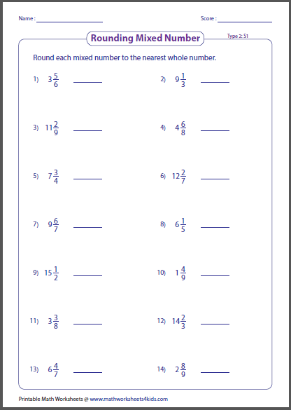 math worksheet : rounding fractions worksheets : Whole Numbers As Fractions Worksheets