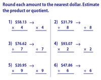 Estimating Money: Product and Quotient