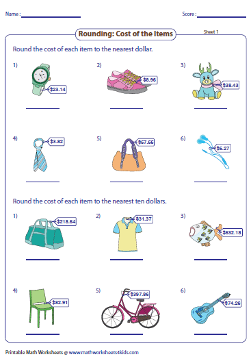 Math estimation worksheets