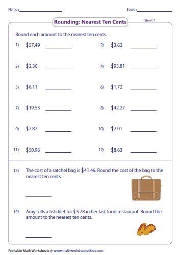 math worksheet : rounding and estimating money worksheets : Decimal ...