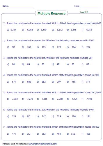 Printables Rounding Worksheets rounding worksheets multiple response