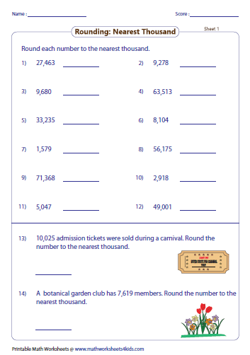 to the nearest thousand in these worksheets two word problems are ...