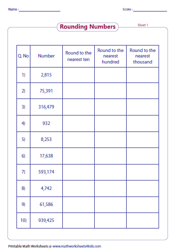 Worksheets Rounding Worksheets For 4th Grade rounding worksheets tabular column