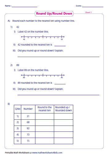 round to the nearest 10 worksheet