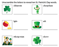 Jumbled Vocabulary Words | St. Paddy's Day