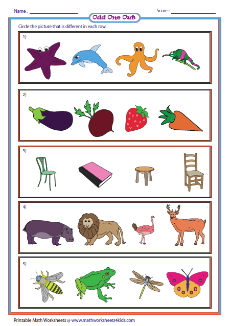 Odd One Out Worksheets For Kindergarten & english worksheets the ...