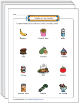 Healthy and Unhealthy Foods Worksheets