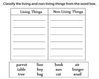 Living and Non-Living Things Worksheets