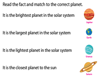 Match the fact to the planet