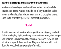 State of matter | Reading comprehension