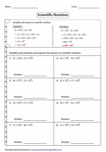 Operations With Scientific Notation Worksheet: Scientific Notation Worksheets,