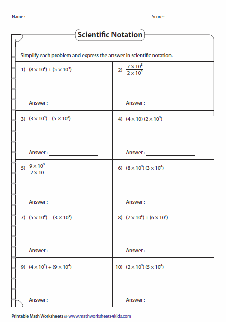 Printables Scientific Notation Worksheet With Answers scientific notation worksheets math operations in notation
