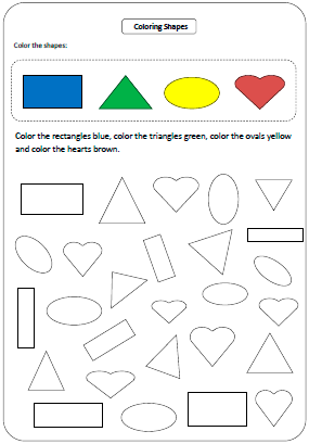 Shapes worksheets and charts for Color by shape coloring pages