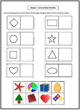 shapes worksheets and charts cutglue activity