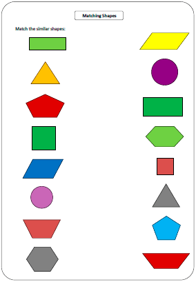 Printables Shapes Worksheets shapes worksheets and charts matching similar shapes